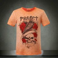 Pp crow skull flowers fashion print t-shirt man 2014 new t-shirt