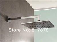 "12"" Square Brass Chrome Rainfall Shower Head Bathroom Shower Head 1/2"" Standard + wall mounted shower arm se116"