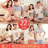 Lovers sleepwear summer short-sleeve shorts male women's fashion cartoon sleep set loose 100% cotton lounge
