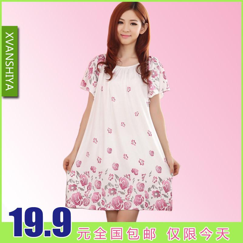 Plus size plus size modal 100% short-sleeve cotton nightgown sleepwear elegant nightgown summer sleepwear lounge(China (Mainland))