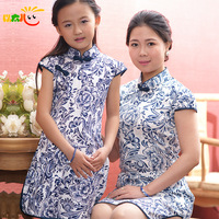Child summer clothing female child cheongsam female child princess dress cheongsam flower girl child costume
