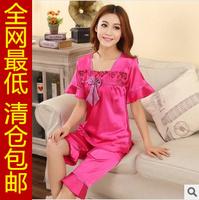 Summer short-sleeve silk twinset sexy plus size sleepwear female 2014 silk set lounge