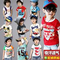free shipping children's cotton t-shirt  boys and girls regular length character tops kid's short-sleeve T-shirt vest ploughboys