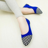 2014 spring flat shoes flat heel pointed toe work shoes color block decoration women's plaid casual shoes