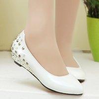 2014 spring single shoes female shoes wedges fashion rivet rhinestone pointed toe work shoes