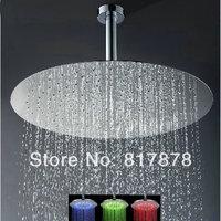 "Luxury Huge 20"" LED Round Shower Head Stainless Steel Brushed Nickel Rainfall Shower Head Ceiling Mounted G1/2 Standard se118"