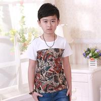 new arrival high quality boy's fahsion o-neck regular length summer clothing children's cotton short-sleeve t-shirt