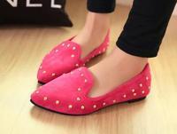 Summer rivet flat heel single shoes metal decoration pointed toe women's shoes work shoes nurse shoes