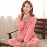 Spring and autumn mm sleepwear female 100% cotton long-sleeve lounge set plus size large plus size sleepwear female xxxxl