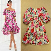 2014 European and American Fashion Colorful Flowers Vintage Flare Dress Slash Neck Puff Sleeve Summer Dresses SS4090