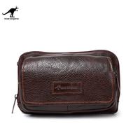 Free Shipping Howe kangaroo fashion business casual man bag genuine leather bag male waist pack protable messenger bag 8310ac