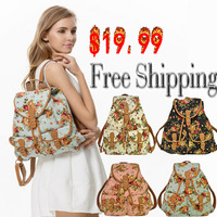 Free Shipping Women Fashion Vintage Cute Flower Bag New 4 Colors Girls Floral Bag Schoolbag Canvas Travel Flower Backpack
