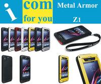 Combo Armor Waterproof Dustproof Drop resistance Corning gorilla glass+Aluminum Metal case for Sony Xperia Z1 L39h C6902 C6903