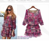 European Brand New 2014 Smart Casual ZA Women's Plus Size L,XL,XXL,XXXL  XXXXL 5XL 3/4 sleeves Pink Floral print  Mini Dress