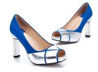 2013 black Blue color women high heel platform open toe shoes genuine leather  pump