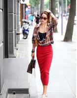 Claretred bust skirt female elastic slim midguts all-match skirt step slim hip skirt straight skirt