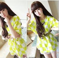 2014 summer women's plaid slim waist basic preppy style short-sleeve chiffon one-piece dress