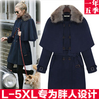 2013 fashion plus size winter medium-long slim woolen overcoat mm cloak rabbit fur woolen outerwear