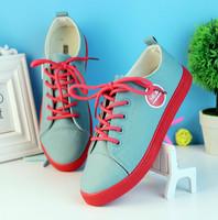 Spring 2014 women sneakers fashion vintage lacing colorant match low platform canvas shoes