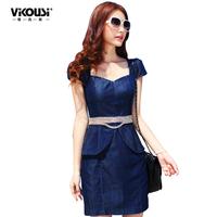 Free shipping Summer 2014 denim female one-piece dress V-neck faux two piece short-sleeve fashion ol elegant slim dress