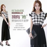 Free shipping Women's slim elegant short-sleeve patchwork expansion bottom bohemia chiffon one-piece dress long