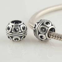 Fj353 925 pure silver beads pendant  jewelry diy bracelet circusy  beaded spherical
