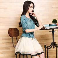Free shipping Helloworld 2014 women's slim organza patchwork denim one-piece dress female