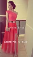 2014 Dresses Coral Color Vestidos Formales Best Seller Lace One Shoulder Side Slit Gold Belt Fromal Evening Maxi Dresses MR034