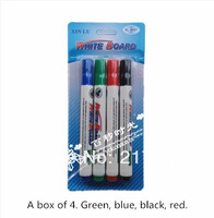 Free shipping teaching whiteboard pen 4 Pack Black Red green blue white board pen writing erasable