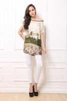 2014 New Summer Lady Fashion Dress Print Bohemia Style  Dress 3 colors