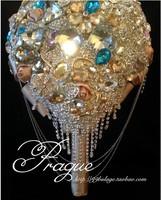 Elegant Luxury Custom Sparkling Diamond Teardrop-shaped Bridal Bouquet Shining Crystal Bouquet Wedding Brooch Bouquet