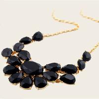 Charm Black Shourouk Acrylic Flower Gem Drop Choker Statement Necklaces & Pendants New 2014 Fashion Jewelry Women WholesaleV032