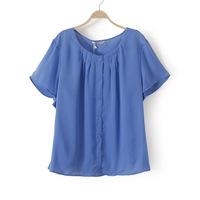 3XL 4XL Casual Women Blue Two-piece Blouse Chiffon Elegant Ladies Shirt  Top Plus Big Size XXXL XXXXL 2014 New Fashion Summer