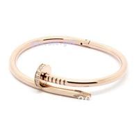NEW Designer Special Nail Bangle Bracelet Rose Gold Stainless w/ White Crystal