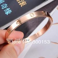 NEW Stainless Steel Rose Gold Screw White Crystal Women Bracelet Bangle Gift Box