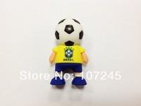 Free shipping Hot sale Fashion New Brazil football man 4-64GB Cartoon pen drive USB 2.0 Usb Flash Drive  Memory Stick(F003)