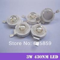 Free  shipping 10pcs  3W UV High Power 430NM LED Emitter Light for LED Plant Growing light source
