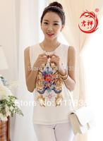 2014 new women's fashion clothing chiffon shirt summer casual cool women  Blouses sleeveless lady printed chiffon shirt