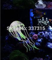 "Wholesale 3 Colors/lot 5.5"" Glowing Effect Artificial Jellyfish Ornament Fish Tank Aquarium Decoration"