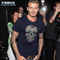 New 2014 summer men's plus size M L XL XXL XXXL 4XL 5XL ultra large short-sleeve beckhem style casual t-shirt, free shipping