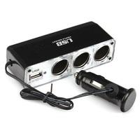 2pcs 3 Way Auto Car Cigarette Lighter Socket Splitter 12V Charger Power Adapter Plug DC 12V + USB Control free shipping 80526