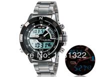 Hot sale! Men's Military dive swim watch Dual Time led Digital analog quartz wrist sports watch Chronograph 2 years warranty