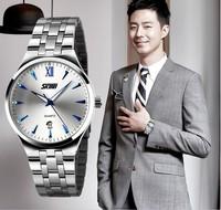 Fashion Business Style 304L Full Steel Men Watches Quartz Calendar Timepiece,Cool Luminous Dial Clock Reloj Free Shipping SKM11