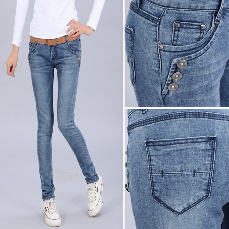 The new women jeans wholesale jeans female Korean version of the sub- burst models stretch jeans wholesale BNZ802(China (Mainland))