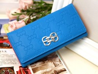 new 2014 brand women wallet pure color leather wallet girl fashion purse women printing clutch wallet lady money clip carteira