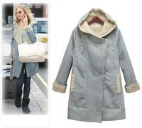 Deerskin fleece berber fleece medium-long outerwear one piece female fur outerwear plus size thickening wadded jacket