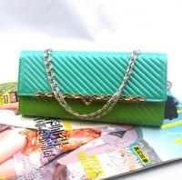 new 2014 brand women Striped leather wallet girl fashion purse women clutch wallet ladies  handbag lady messenger bag carteira