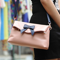 99 Time-hot sell vintage leisure bowknot pink messenger bag for women,high quality pu leather ladies shoulder bag new summer