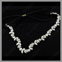Fashion Women's Hot New Silver Crystal Rhinestone Flower Elastic Hair Band Headband Hair Accessories Free Shipping