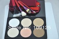 4 pcs Red double lip brush sets  Face Powder Makeup Blush + 6 Colors Contour Palette brush kit cosmetic